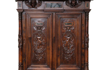 FRENCH STAINED-OAK RENAISSNACE-REVIVAL FIGURAL CARVED STEP-BACK WALL CABINET, LATE 18TH CENTURY