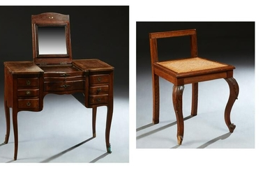 French Louis XV Style Carved Mahogany Dressing Table
