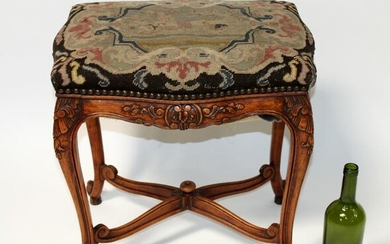 French Louis XV carved walnut foot stool with