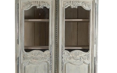 French Provincial carved and painted oak armoire