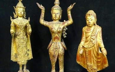 "GROUP 3 BUDDHAS 2 GILTWOOD 1 METAL 22""H LARGEST"