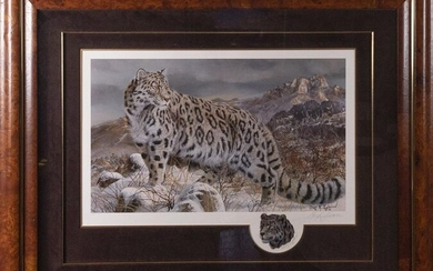 Gary Swanson, American, Snow Leopard, offset lithograph
