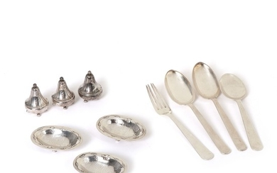 "Georg Jensen, Harald Nielsen, Kay Bojesen: Three salt cellars, three pepper shakers and four pieces of ""Grand Prix"" cutlery of sterling silver. (10)"