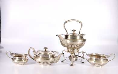 George V silver four-piece tea set with spirit kettle by Ham...