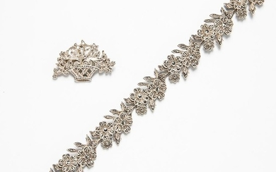 German Silver and Marcasite Floral Bracelet and a Rose-cut Diamond Brooch