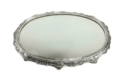 German Sterling Silver Mirror Plateau, 19th C