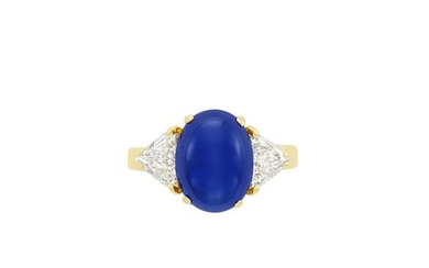 Gold, Cabochon Sapphire and Diamond Ring