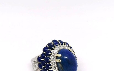 Gold and diamond lapis ring
