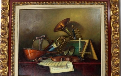 """Gyorgy TAKACS (1935) """"Still life with musical instruments"""" oil on canvas signed lower right, in a large gilt wood carved frame, with certificate, 50 x 61 cm"""