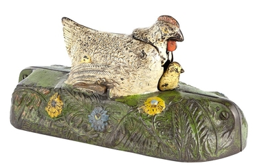 Hen and Chick Cast Iron Mechanical Bank