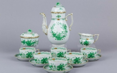 Herend Indian Basket Green Tea Set for Six People, 17