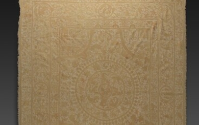 INDO-PORTUGUESE, BENGAL, FIRST HALF 17TH CENTURY   EMBROIDERED COVERLET (COLCHA)