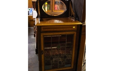 INLAID MAHOGANY DISPLAY CABINET WITH LEADED DOOR 57cm wide,...