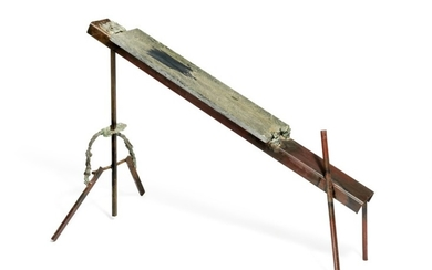Ib Braase: Untitled (The Bench), 1977. Unsigned. Painted iron, bronze and marble. 86×115 x 65 cm.