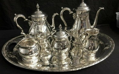 International Prelude Hand Chased Sterling Tea Set With