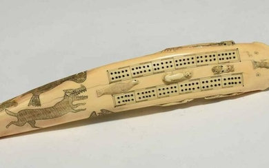 Inuit Carved Walrus Tusk Cribbage Board