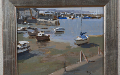 John Boyce - View of Beached Boats, late 20th century oil on board, signed recto, label verso, 19cm