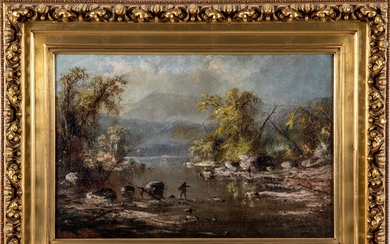 John R. Johnston, (1826-1895) - River Scene with Fisherman