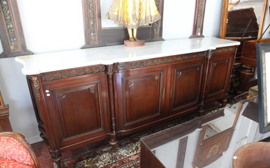 LOUIS XVI STYLE CARVED MAHOGANY, MARBLE-TOP SIDEBOARD WITH GILT-METAL MOUNTS....