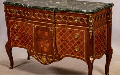 LOUIS XVI STYLE MARQUETRY AND BRONZE COMMODE