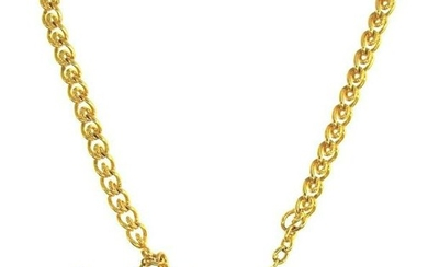 LUXURY 14k Yellow Gold & Enamel Watch Chain Necklace