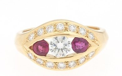 """Ladies' Gold, Ruby and Diamond """"Protective Eye"""" Ring"""