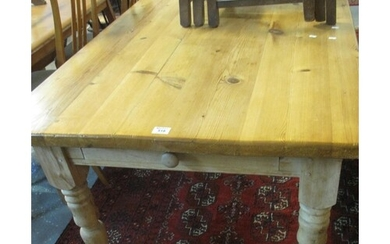 Large, modern pine farmhouse style kitchen table on turned s...