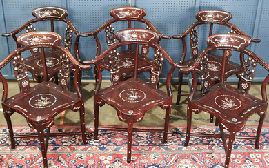 (Lot of 6) A group of six Chinese Hardwood Corner Chairs