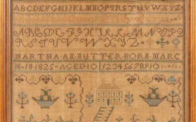 """MAINE NEEDLEWORK SAMPLER Wrought by """"Martha An [sic] Nutter Born March 18, 1825 Aged 10"""". Upper portion with rows of alphabets above..."""