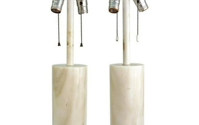 Mid-Century Nessen White Marble Table Lamps, Pair