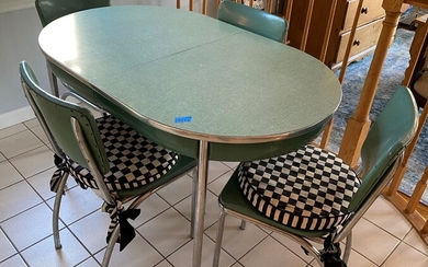 Mid-century Formica and Chrome Table with Four Chairs - FR3SH