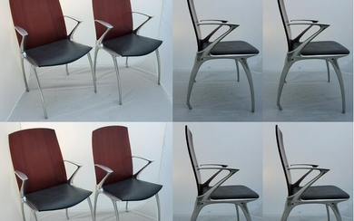 Modern Leather & Wooden Chairs W/Chrome Legs
