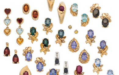 Multi-Stone, Diamond, Gold Earrings The lot includes seventeen pairs...