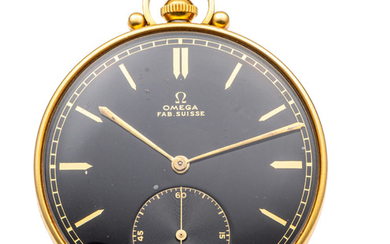 OMEGA ART DECO POCKET WATCH WITH TWO-TONE DIAL