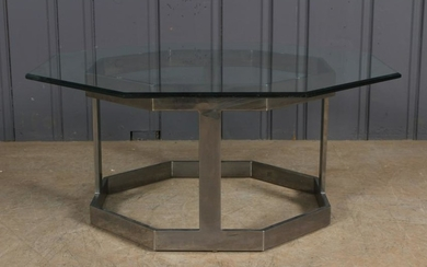Octagonal Chrome and Glass Coffee Table