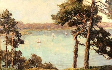 Otto PIPPEL (1878 - 1960). Sailing boats on a lake.