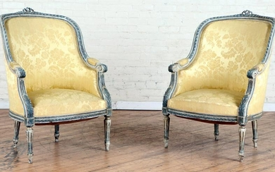 PAIR CARVED PAINTED FRENCH BERGERE CHAIRS C.1920