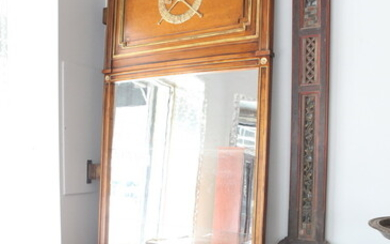 PAIR CUSTOM-MADE LOUIS XVI STYLE FRUITWOOD MIRRORED DOOR PANELS. Domed...