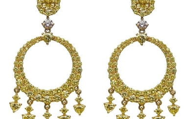 PAIR OF 18CT GOLD, FANCY YELLOW DIAMOND AND PINK DIAMOND PENDANT EARRINGS