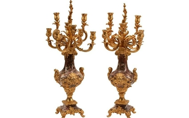 PAIR OF FRENCH GILT BRONZE & CARVED MARBLE CANDELABRA