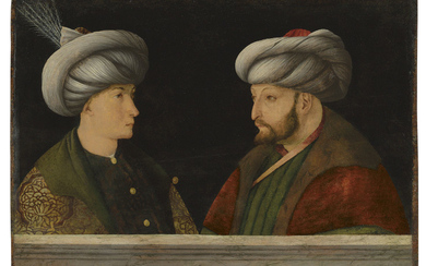 PORTRAIT OF SULTAN MEHMED II (1432-1481) WITH A YOUNG DIGNITARY, WORKSHOP OF GENTILE BELLINI, VENICE, CIRCA 1429-1507