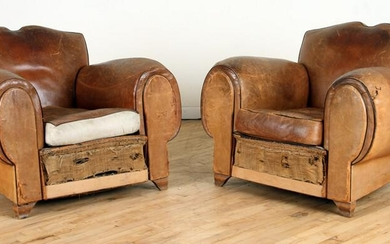 PR FRENCH LEATHER MUSTACHE BACK CLUB CHAIRS 1930