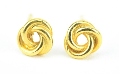 Pair Estate 14 KT Yellow Gold Knot Form Earrings