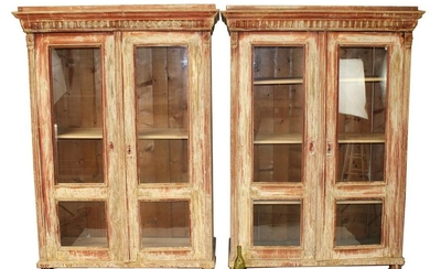Pair French painted 2-door bookcases