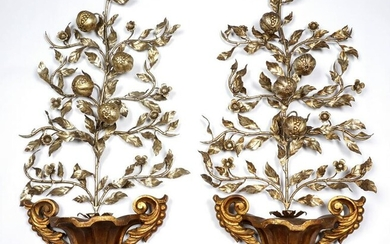 Pair Italian Gilt Wood and Silvered Metal Espalier