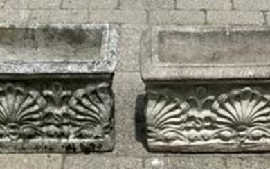 Pair Neoclassical Style Cast Stone Garden Planters