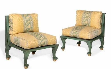 Pair of Art Deco style green painted side chairs