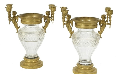 Pair of French Bronze and Cut Glass Urns