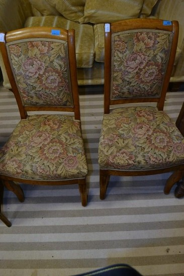 Pair of French walnut bedroom chairs circa 1900's
