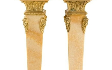 Pair of Late 19th C. Gilt Bronze Mounted Pedestals